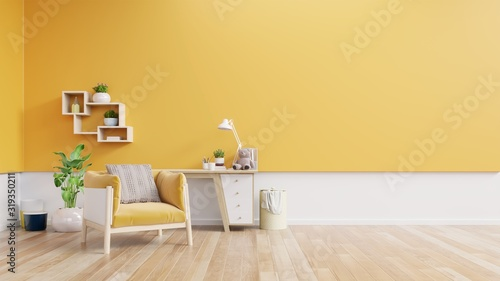 Photo Living room interior with fabric armchair ,lamp,book and plants on empty yellow wall background