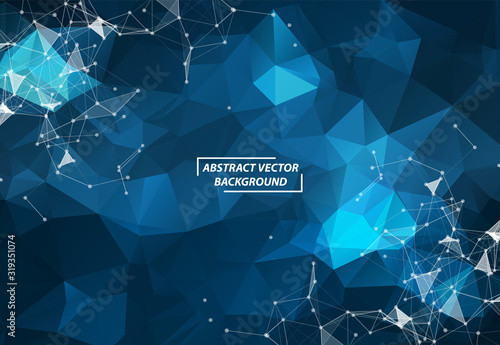 Abstract Dark Blue Polygonal Space Background with Connecting Dots and Lines Wallpaper Mural