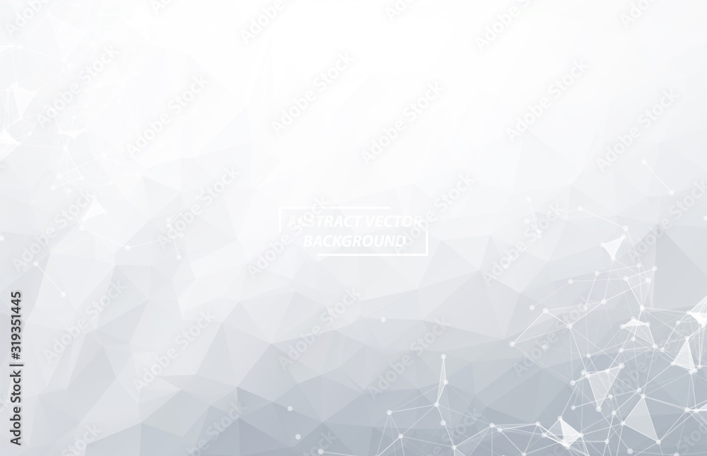 Fototapeta Abstract White Polygonal Space Background with Connecting Dots and Lines.  Connection structure. Vector science Futuristic HUD background.