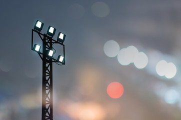 Bright stadium arena lights at night