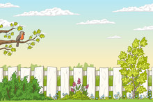 Spring Landscape With Bird And Flowers. Hand Drawn Vector Illustration With Separate Layers.