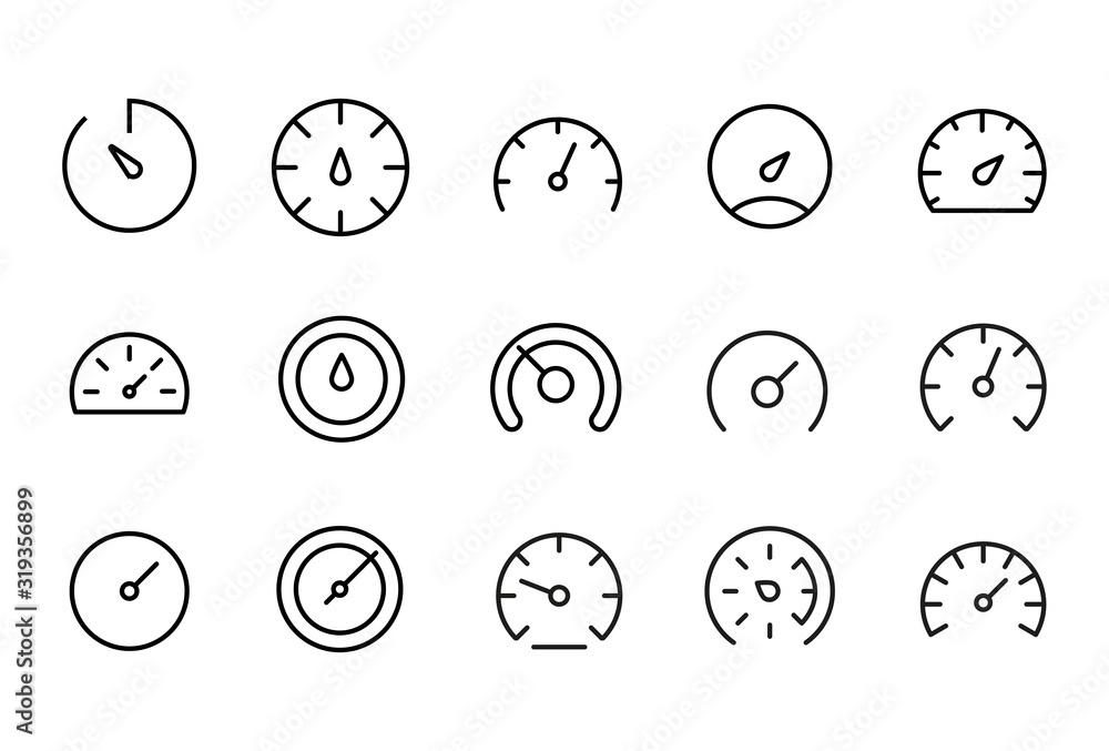 Fototapeta Icon set of speedometer