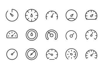 Icon set of speedometer