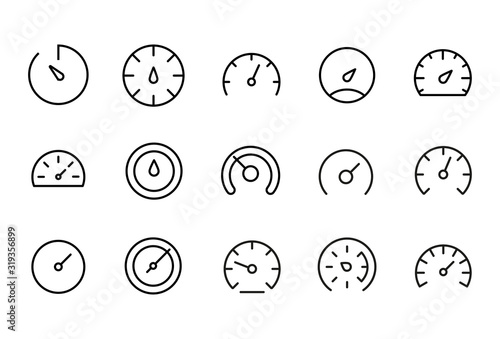 Icon set of speedometer Obraz na płótnie