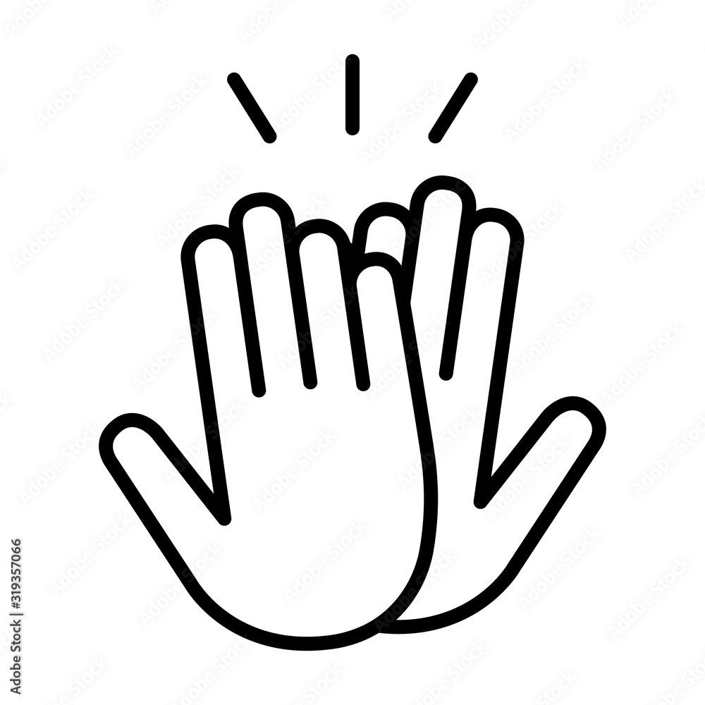 Fototapeta High five or high 5 hand gesture line art vector icon for apps and websites