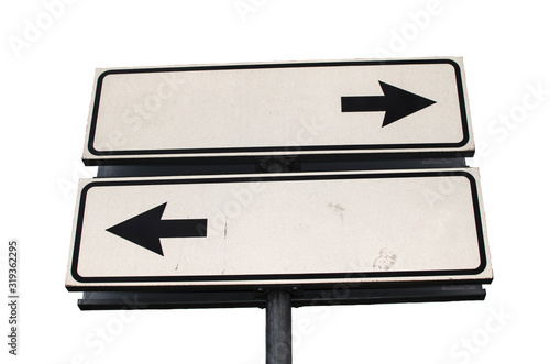 Photo Crossroads Road Sign, Two Arrow on white background, Isolated