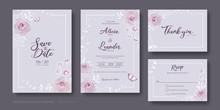 Set Of Floral Wedding Invitati...