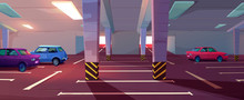 Underground Car Parking. Basement Garage With Lots For Automobiles, Columns, Road Marking And Guiding Arrows In Corridor. Vector Cartoon Interior Of Parking In Mall Or City House
