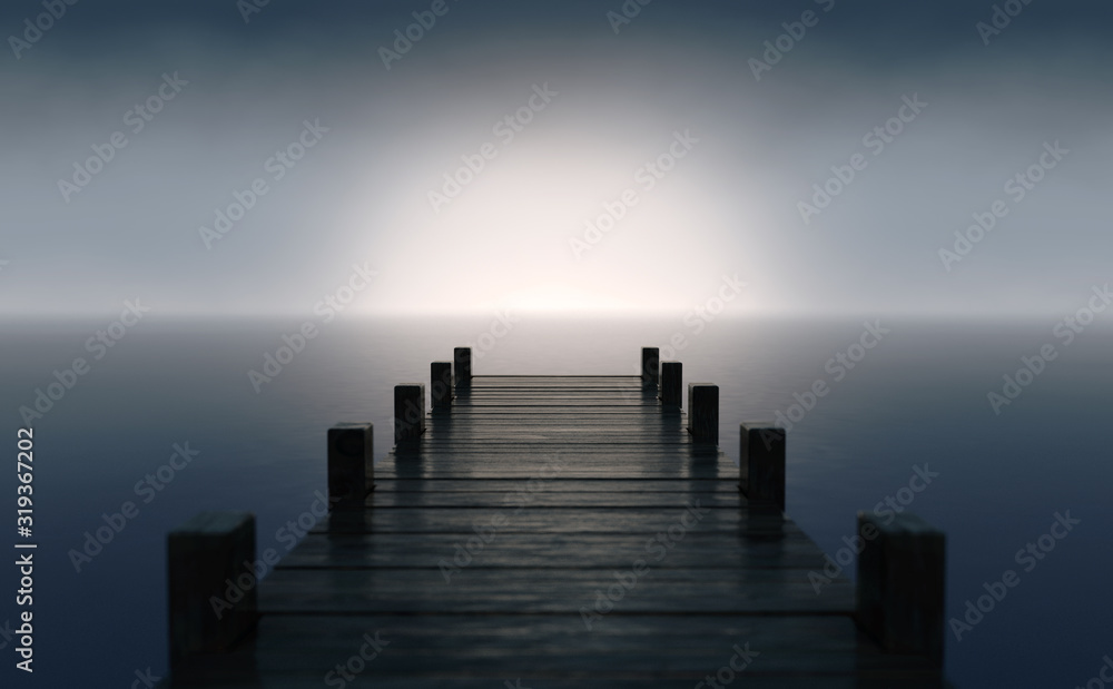 Fototapeta Pier On Sunrise Horizon