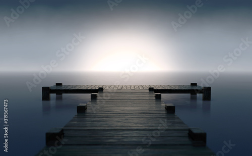 Fototapeta Pier On Sunrise Horizon obraz