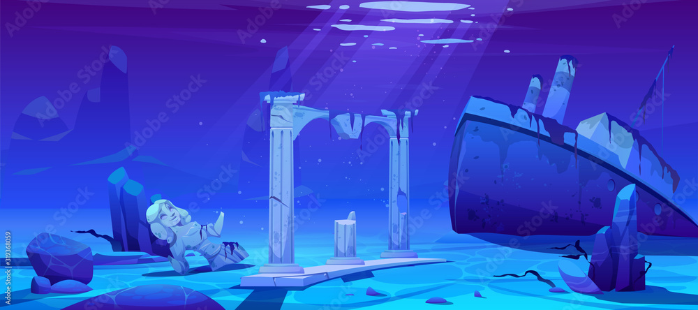 Fototapeta Wreck ship, sunken steamboat vessel with pipes on ocean sandy bottom near ancient old architecture columns and broken female statue, underwater world, pc game background. Cartoon vector illustration
