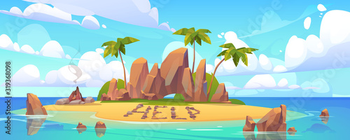 Lost island in ocean with alone castaway person asking for help. Vector cartoon sea landscape witn tropical island with palms, rocks and sand beach with bonfire.