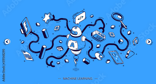 Machine learning isometric banner, artificial intelligence science, computer algorithm Wallpaper Mural