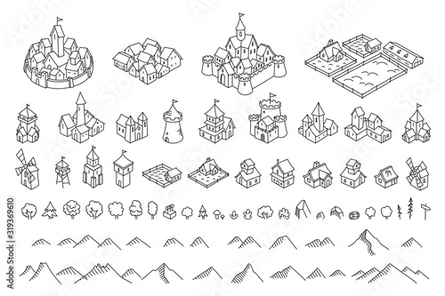 Fototapeta Middle Ages city map kit. Buildings set. Medieval fantasy sketch. Mountains and trees. Selection for board game. Hand drawn vector black line. obraz