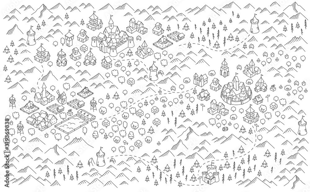 Fototapeta Medieval city, fantasy area map sketch. Mountain river and village buildings. Middle Ages map for board game. Hand drawn vector black line.