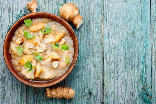Fototapeta Creamy Jerusalem artichoke soup obraz