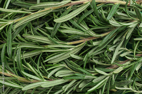 Fresh organic rosemary as background, top view Tableau sur Toile