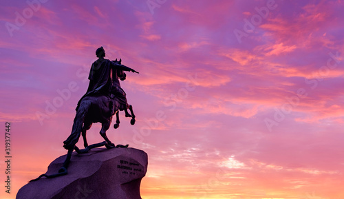 fototapeta na drzwi i meble Saint Petersburg, Russia. The Bronze horseman monument at sunset