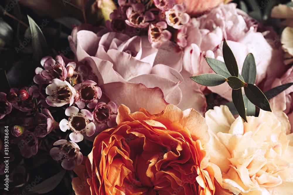 Fototapeta Beautiful bouquet of different flowers, closeup. Floral card design with dark vintage effect
