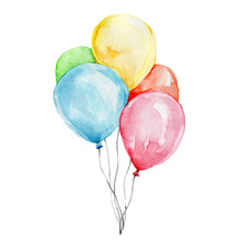 Colorful Balloons; Watercolor ...