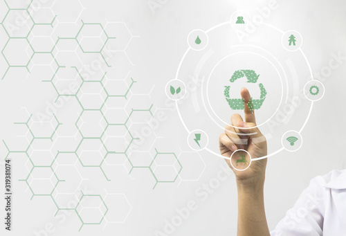 Fingers touch with Connecting dots lines shape Recycle environment Icons for industrial and environment over blurred white background. environment concept.Ecology concept