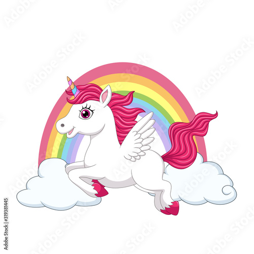 Fotografija Cute little pony unicorn with wings on clouds and rainbow