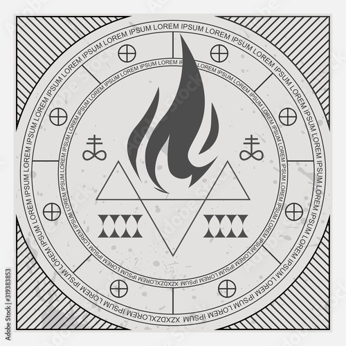 Photo The Pedestal Symbols for region and elements and signs for metal bands rock band