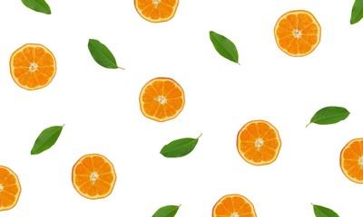 texture of slice many orange and leaf background