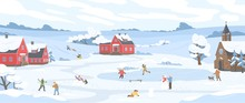 Panorama Of Winter Landscape With Leisure People Vector Illustration. Happy Cartoon Characters Enjoy Outdoor Activity. Man, Woman And Children Sledding, Ice Skating, Skiing, Playing Snowballs At Park