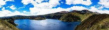 Amazing View Of Lake Of The Quilotoa Caldera. Cuicocha Is The Western Volcano In Andes Range And Is Located In Andean Region Of Ecuador. Otavalo, South America