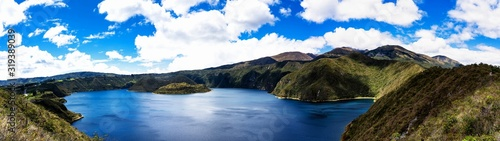 Amazing view of lake of the Quilotoa caldera Canvas Print