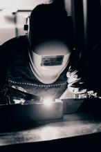 Welder Using The Tig Welding M...