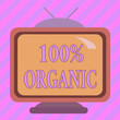 canvas print picture - Text sign showing 100 Percent Organic. Business photo showcasing ingredients are certified no artificial food additives Square rectangle old multicoloured painting television picture wood design