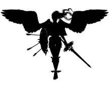 The Black Silhouette Of An Angel Girl With Large Wings, Long Hair, A Legendary Sword And A Shield With Arrows, Gracefully Comes Forward To The Viewer. On A White Background . 2D Illustration
