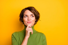Closeup Photo Of Amazing Short Hairdo Lady Looking Up Empty Space Deep Thinking Creative Person Arm On Chin Wear Casual Green Turtleneck Isolated Yellow Color Background