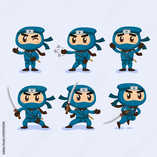 Flat ninja character collection in different poses Wallpaper Mural