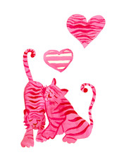 Watercolor Set Pink Tigers And...