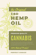The Original CBD Hemp Oil Abstract Vector Design Label. Modern Typography and Hand Drawn Cannabis Plant Branch with Leaves Sketch Silhouette Background Layout.