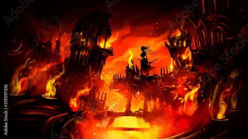 Carta da parati An infernal city with many towers, ruins, bridges, torches, engulfed in flames, sparks, in the center of the composition hovers the Ghost of a woman with a bow