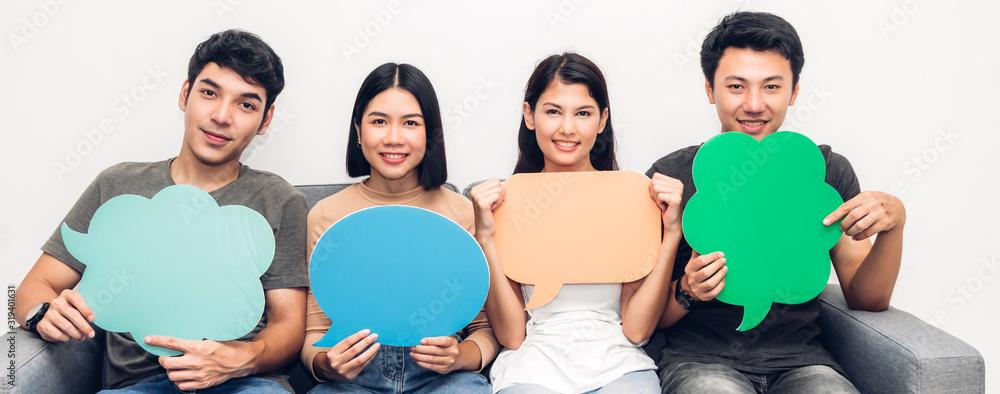 Fototapeta Group of friends holding a speech bubble icon