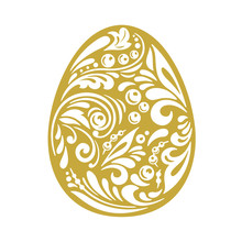Vector Easter Egg. Traditional Russian Folk Orament. Gold And White Color Pattern Isolated On White Background.