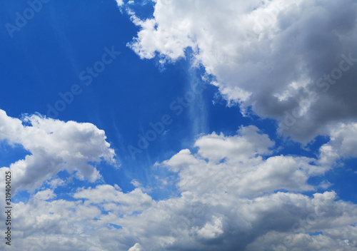 Altostratus white clouds in the blue sky natural background beautiful nature env Canvas Print