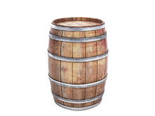Wooden Barrels Isolated On Whi...