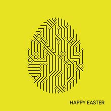 Vector Happy Easter Card Black Circuit Board Pattern