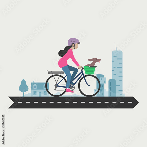 Woman cycling commuter, e-bike, Electric bicycle Fototapet