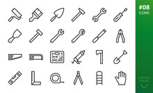 Hand Repair Tools Icons Set. S...