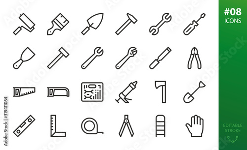 Fotografie, Obraz Hand repair tools icons set