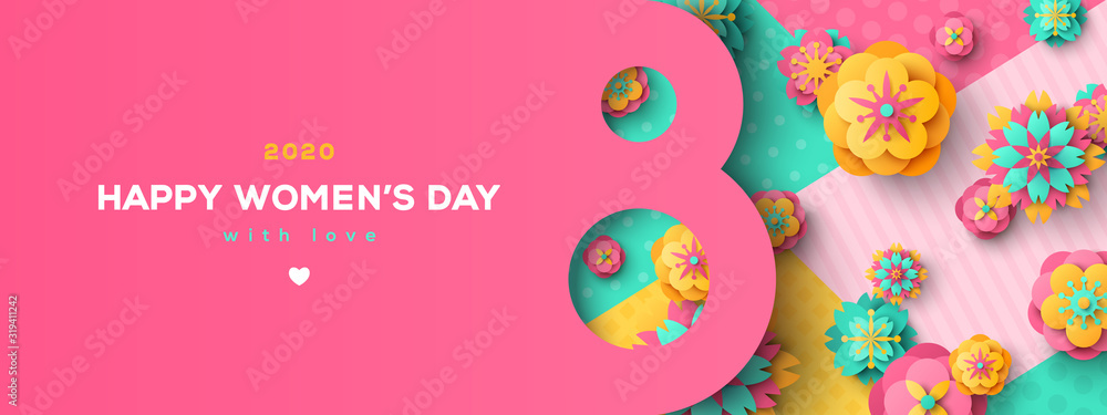 Fototapeta Women's Day greeting card or banner with eight shaped frame and paper cut flowers on colorful modern geometric background. Vector illustration. Place for text. March 8 holiday.