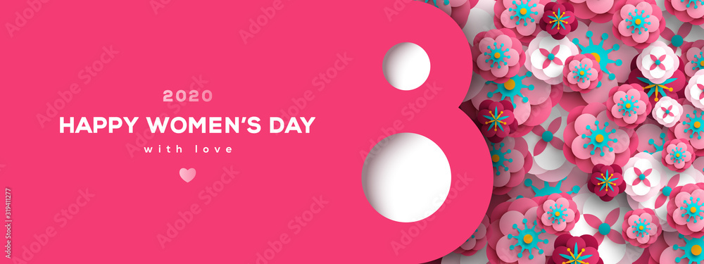 Fototapeta Women's Day greeting card or banner with eight shaped frame and paper cut flowers. Vector illustration. Place for text. March 8 holiday.