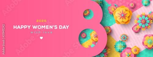 Cuadros en Lienzo Women's Day greeting card or banner with eight shaped frame and paper cut flowers on colorful modern geometric background